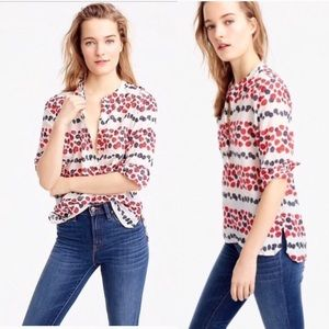 NWT J. Crew Mixed Berry Popover Blouse
